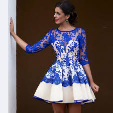 arabic royal blue short cocktail dresses 2017 lace cute homecoming