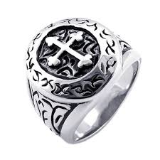 mens rings silver images Konov classic vintage cross mens ring stainless steel jpg