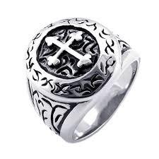 stainless steel mens rings konov classic vintage cross mens ring stainless steel
