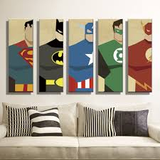 Superman Room Decor by Oil Painting Canvas Super Hero Superman Batman Cartoon Modular