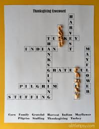 printable thanksgiving crossword for a tipsy