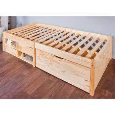 letto a legno massello julem letto singolo per cameretta con cassetti in legno naturale
