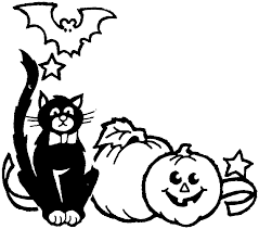 halloween black and white halloween cat black and white clipart
