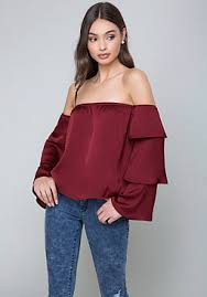shoulder blouse the shoulder tops shirts bebe