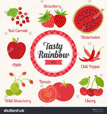 tasty rainbow set red color fruits stock vector 414252997