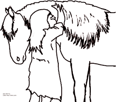 hugging pony coloring page
