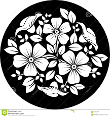 white flower ornament on a black background royalty free stock