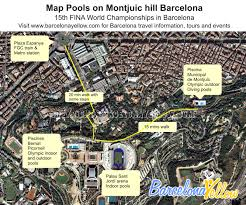Map Of Barcelona Barcelona 2017 Barcelona Olympic Swimming Pools On Montjuic Hill