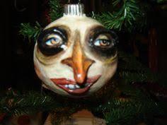creepy moon ornament paper clay folk ornaments