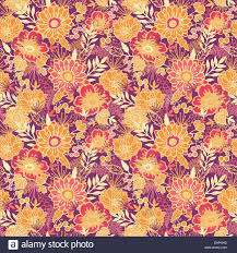 Fall Flowers Fall Flowers And Leaves Seamless Pattern Background Stock Photo