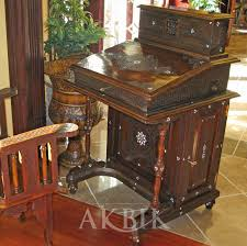 Oriental Secretary Desk by Mediterranean Levantine U0026 Syrian Furniture Inlaid With Mother Of