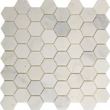 2 inc hexagon mosaic tile asian carrara marble polished wall floor