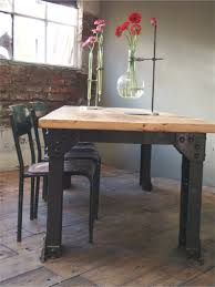 Grande Table Industrielle by Grande Table Industrielle Plateau Chene Massif Pietement Metal