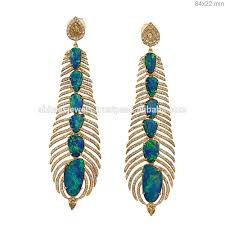 wholesale chandeliers 18k solid gold chain earrings pave diamond long designer jewelry