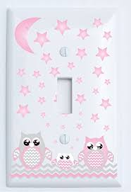 Owl Nursery Decor Grey And Pink Owl Light Switch Plate Covers Single