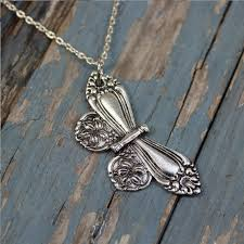 aliexpress vintage necklace images 10pcs large antique silver spoon butterfly pendant necklace jpg