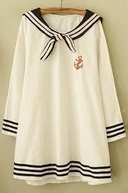 sailor blouse sailor style casual contrast trim sleeve blouse top