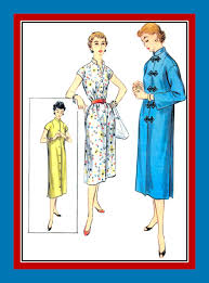 vintage 1955 elegant asian style duster coat dress sewing pattern