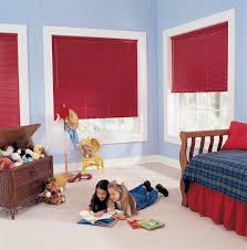 interior design blue wall with white window and red bali blinds