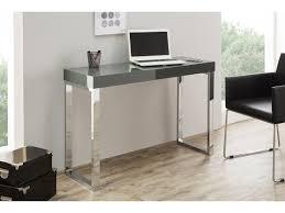 bureau gris laqué bureau design gris foncé laqué et pieds en acier chromé luc 120 cm