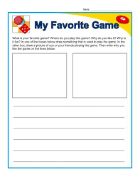 kindergarten writing prompt my favorite game