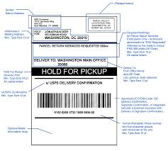 shows the format for a hold for pickup address label