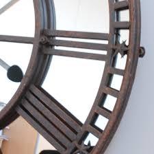 Large Mirrored Wall Clock Buy Online Uk Antique Mirror Iron Roman Skeleton Wall Clock