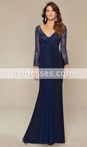 navy blue beads mother of the bride dresses long sleeve v neck