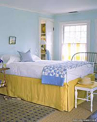 Bedroom With Yellow Walls And Blue Comforter Yellow Rooms Martha Stewart