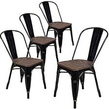 Black Metal Bistro Chairs Amazon Com Belleze Set Of 4 Metal Chairs Side Dining Steel