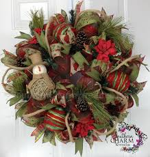 burlap wreaths with ornaments happy holidays