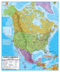 Map North America Political Map Of North America With Relief Roads And Major Cities