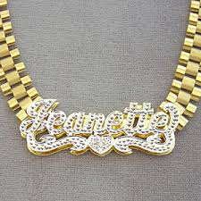 gold name necklace 10k solid gold 3d plates iced pave name 10mm band