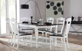 Extending Dining Table And Chairs Uk Sheraton White U0026 Dark Wood Extending Dining Set At Furniture