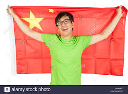 Image Chinese Flag Asian Chinese Man Holding China Flag In Isolated White Background