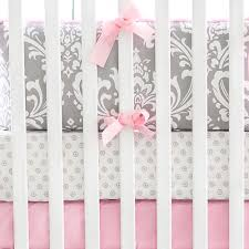 Gray And Pink Crib Bedding Gray And Pink Damask Baby Bedding Crib Bedding Baby