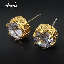 gold ear studs aliexpress buy rhinestone stud earrings women luxury
