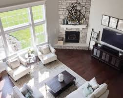 awesome furniture placement in living room with fireplace