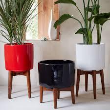 mid century turned leg planter solid west elm au