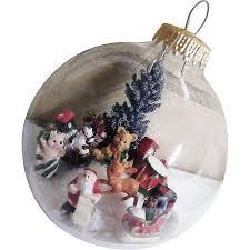 folk clear glass ornament winter 2 signed