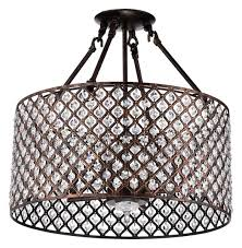 crystal semi flush mount lighting mariella 4 light crystal semi flush mount antique copper