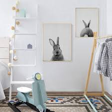 rabbit nursery rabbit nursery canvas painting black white animal poster