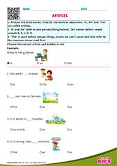 english articles worksheets grade 1