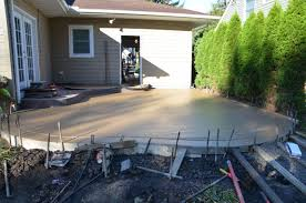 remove old deck and concrete patio u0026 replace with stamped concrete
