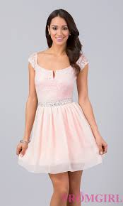 short lace embellished cap sleeve dress promgirl