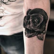 collection of 25 roses and skull half sleeve tattoos