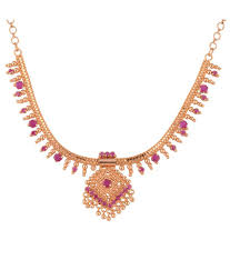 1 gram gold plated south indian kerala design necklace with ruby