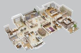 One Bedroom Apartment Designs by 4 Bedroom Apartment House Plans