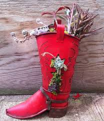 cowboy boot adds just the right touch for these succulents the