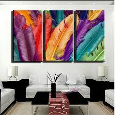 modern paint 2016 3panels hot selling fresh multi color feather modern wall